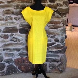 Dresses & Skirts - Vintage bright yellow linen dress